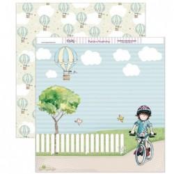 Papel scrapbooking «En bicicleta»