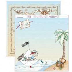 Papel scrapbooking «Pirata y mapa del tesoro»