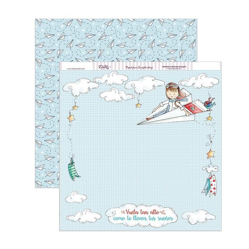 Papel scrapbooking «Avión de papel»