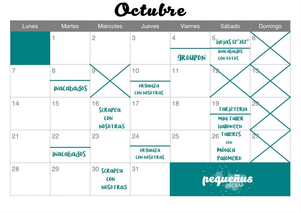 Scrapebook Pequeñus Calendario Talleres Octubre