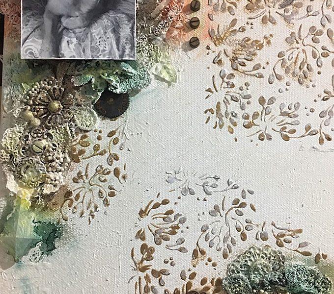Trabajo de Scrapbooking Textura de Flor Calero Sanchez